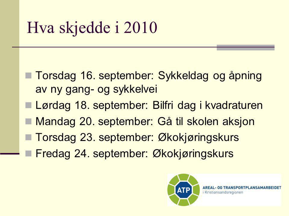 Hva skjedde i 2010  Torsdag 16. september: Sykkeldag og åpning av ny gang- og sykkelvei  Lørdag 18. september: Bilfri dag i kvadraturen  Mandag 20.