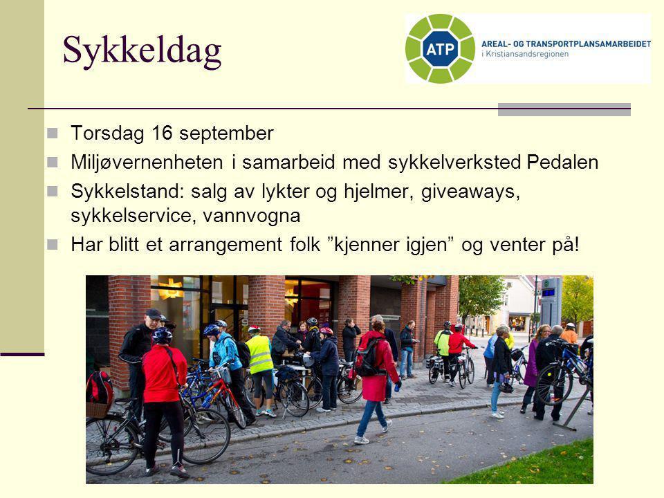 Sykkeldag  Torsdag 16 september  Miljøvernenheten i samarbeid med sykkelverksted Pedalen  Sykkelstand: salg av lykter og hjelmer, giveaways, sykkel