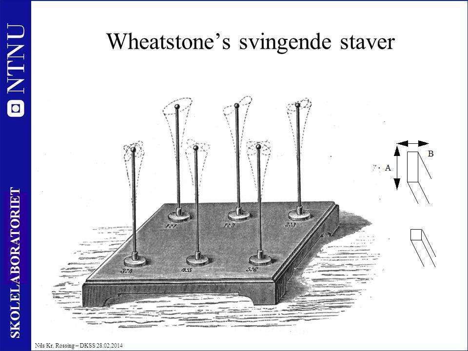 14 SKOLELABORATORIET Nils Kr. Rossing – DKSS 28.02.2014 Wheatstone's svingende staver