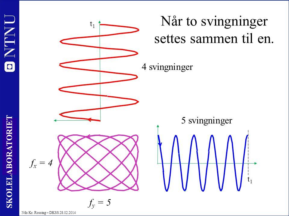 20 SKOLELABORATORIET Nils Kr. Rossing – DKSS 28.02.2014 t1t1 f y = 5 f x = 4 Når to svingninger settes sammen til en. 5 svingninger 4 svingninger t1t1
