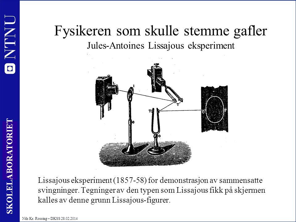 8 SKOLELABORATORIET Nils Kr. Rossing – DKSS 28.02.2014 Fysikeren som skulle stemme gafler Jules-Antoines Lissajous eksperiment Lissajous eksperiment (