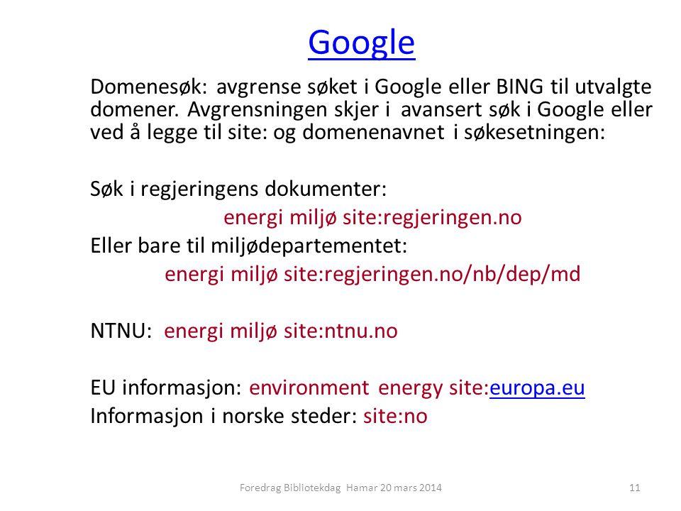 Google Domenesøk: avgrense søket i Google eller BING til utvalgte domener.