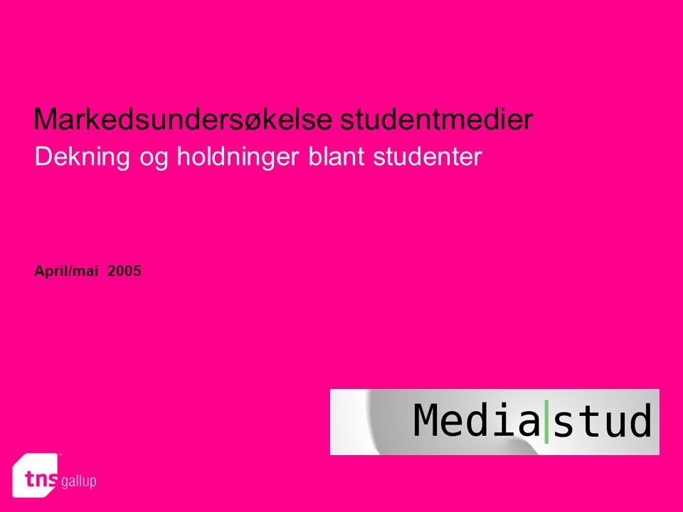 Markedsundersøkelse studentmedier Dekning og holdninger blant studenter April/mai 2005