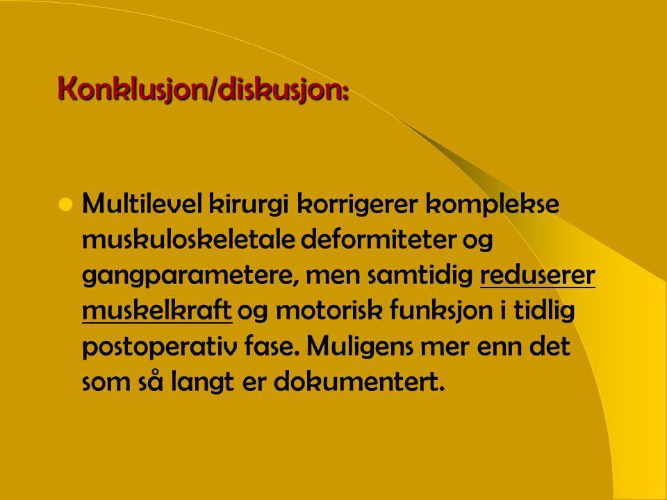 Konklusjon/diskusjon:  Multilevel kirurgi korrigerer komplekse muskuloskeletale deformiteter og gangparametere, men samtidig reduserer muskelkraft og motorisk funksjon i tidlig postoperativ fase.