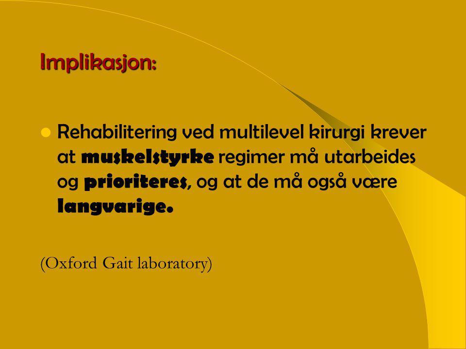 Implikasjon:  Rehabilitering ved multilevel kirurgi krever at muskelstyrke regimer må utarbeides og prioriteres, og at de må også være langvarige.