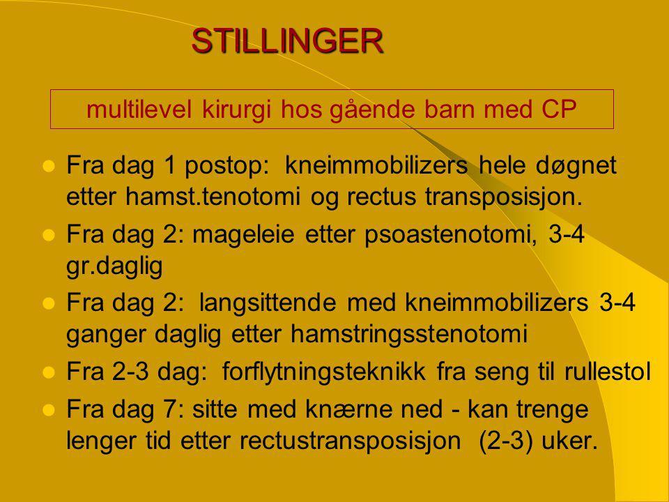 STILLINGER  Fra dag 1 postop: kneimmobilizers hele døgnet etter hamst.tenotomi og rectus transposisjon.