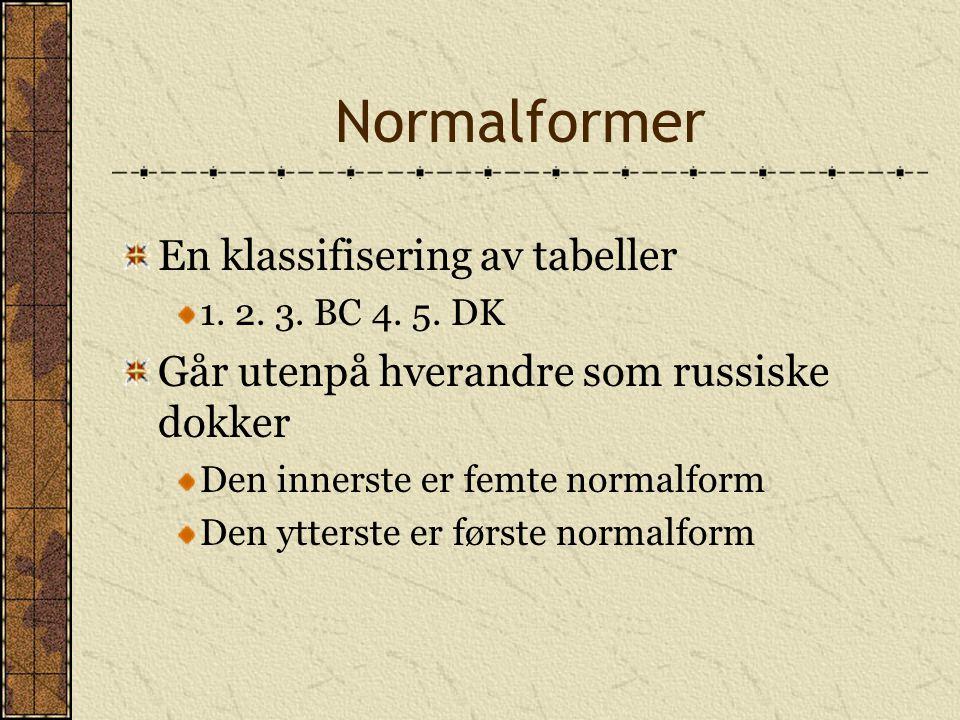 Normalformer En klassifisering av tabeller 1. 2. 3. BC 4. 5. DK Går utenpå hverandre som russiske dokker Den innerste er femte normalform Den ytterste
