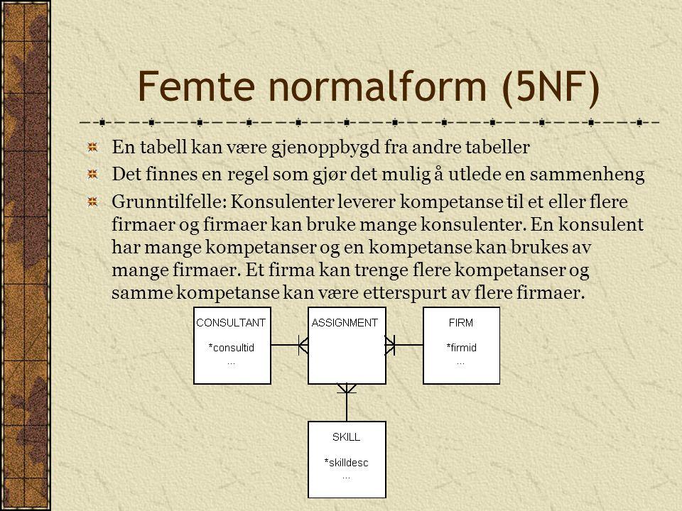 Femte normalform (5NF) En tabell kan være gjenoppbygd fra andre tabeller Det finnes en regel som gjør det mulig å utlede en sammenheng Grunntilfelle: