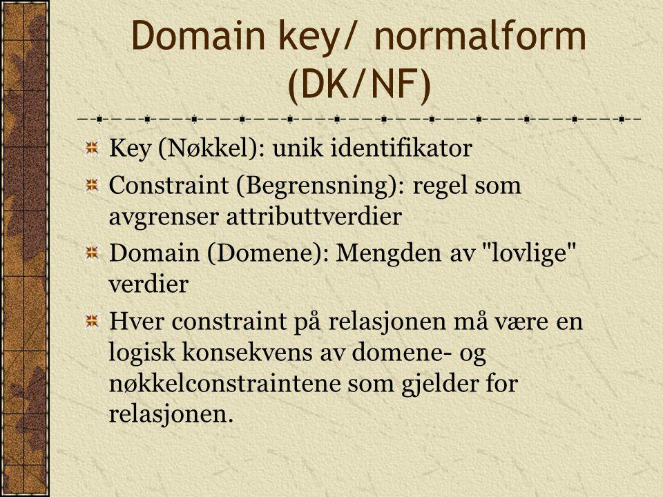 Domain key/ normalform (DK/NF) Key (Nøkkel): unik identifikator Constraint (Begrensning): regel som avgrenser attributtverdier Domain (Domene): Mengde