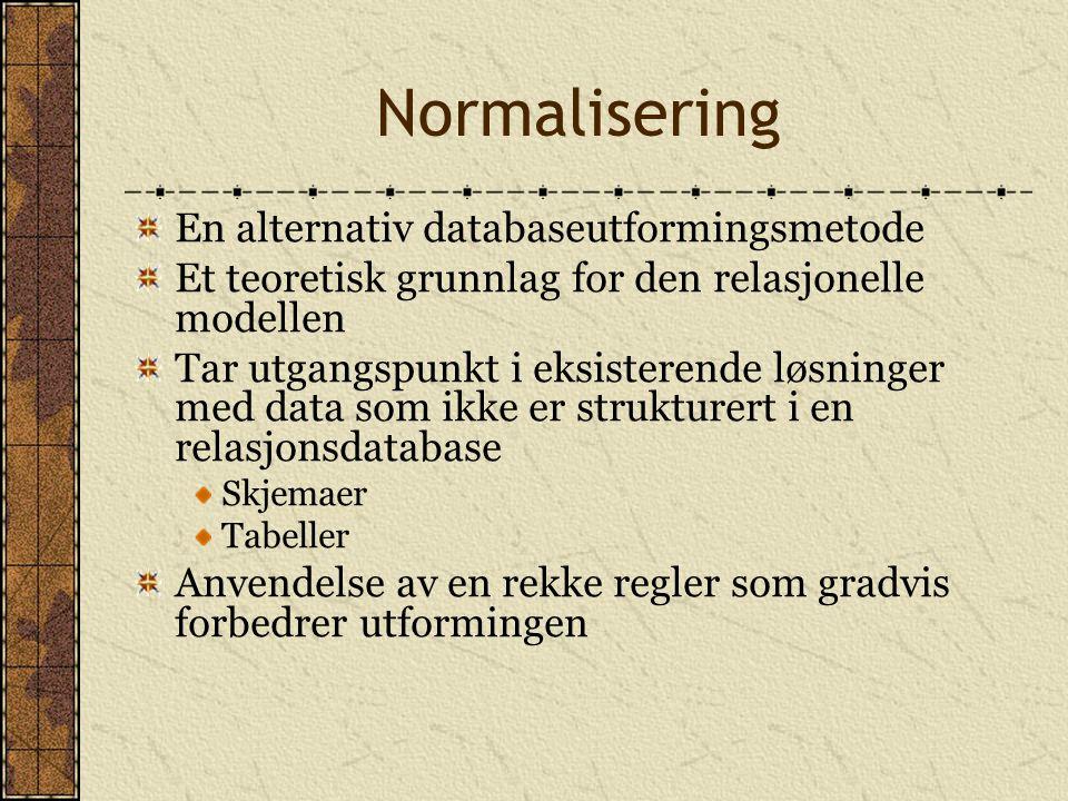 Normalisering En alternativ databaseutformingsmetode Et teoretisk grunnlag for den relasjonelle modellen Tar utgangspunkt i eksisterende løsninger med
