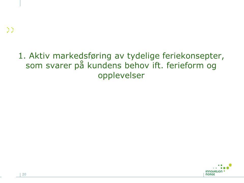 20 1. Aktiv markedsføring av tydelige feriekonsepter, som svarer på kundens behov ift. ferieform og opplevelser