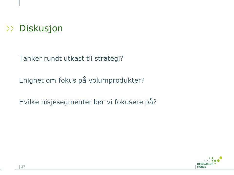 37 Diskusjon Tanker rundt utkast til strategi? Enighet om fokus på volumprodukter? Hvilke nisjesegmenter bør vi fokusere på?