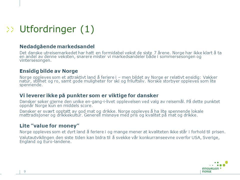 9 Utfordringer (1) Nedadgående markedsandel Det danske utreisemarkedet har hatt en formidabel vekst de siste 7 årene. Norge har ikke klart å ta en and