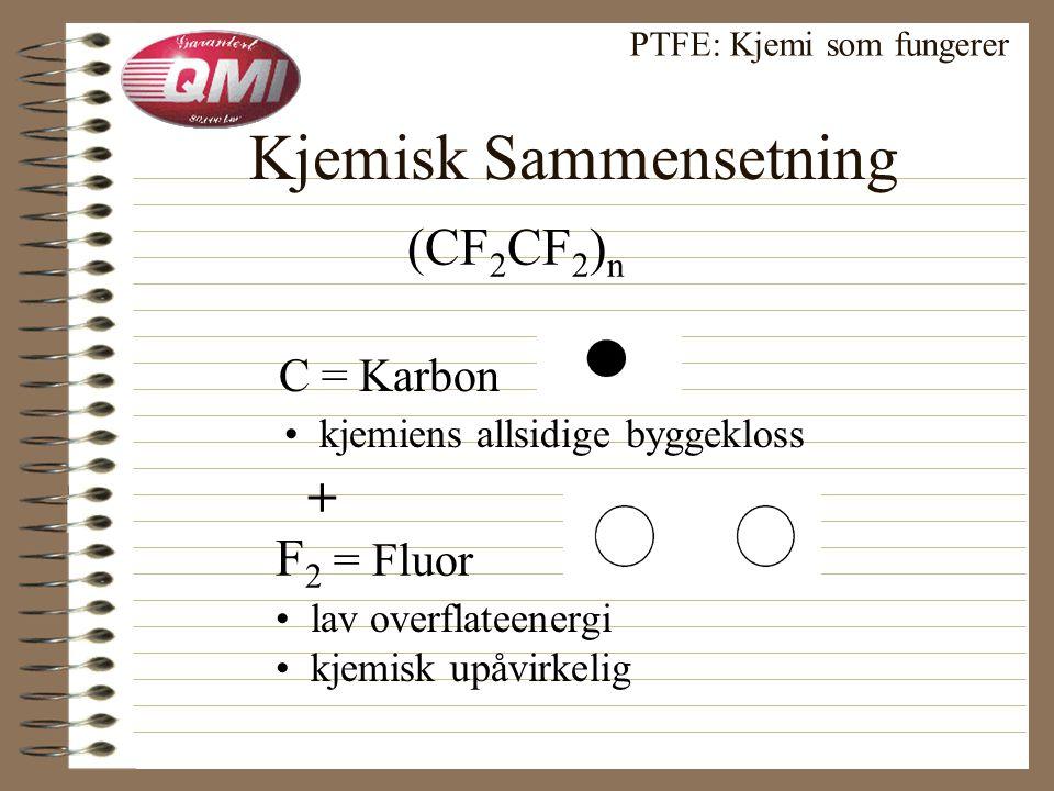 Fluorpolymer Familien PTFE: Kjemi som fungerer Polymer langkjedet fluorkarbon = mange deler