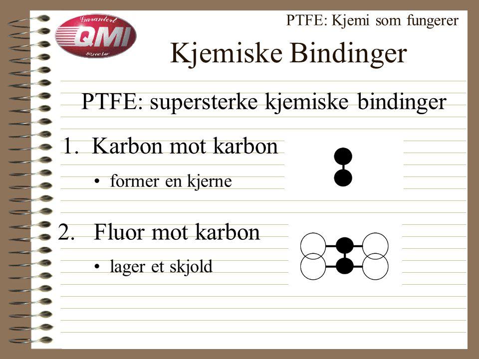 Kjemisk Sammensetning PTFE: Kjemi som fungerer C = Karbon • kjemiens allsidige byggekloss F 2 = Fluor • lav overflateenergi • kjemisk upåvirkelig (CF 2 CF 2 ) n +