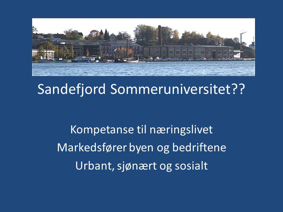 Sandefjord Sommeruniversitet?? Kompetanse til næringslivet Markedsfører byen og bedriftene Urbant, sjønært og sosialt