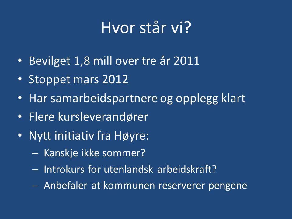 Hvor står vi? • Bevilget 1,8 mill over tre år 2011 • Stoppet mars 2012 • Har samarbeidspartnere og opplegg klart • Flere kursleverandører • Nytt initi