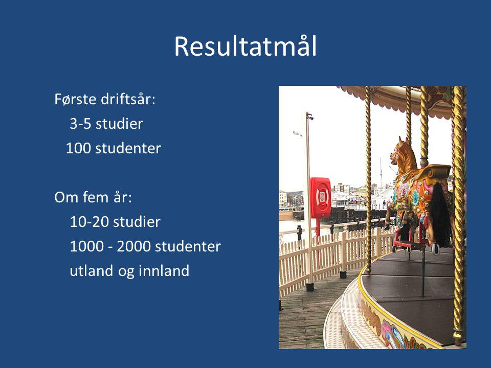 Resultatmål Første driftsår: 3-5 studier 100 studenter Om fem år: 10-20 studier 1000 - 2000 studenter utland og innland