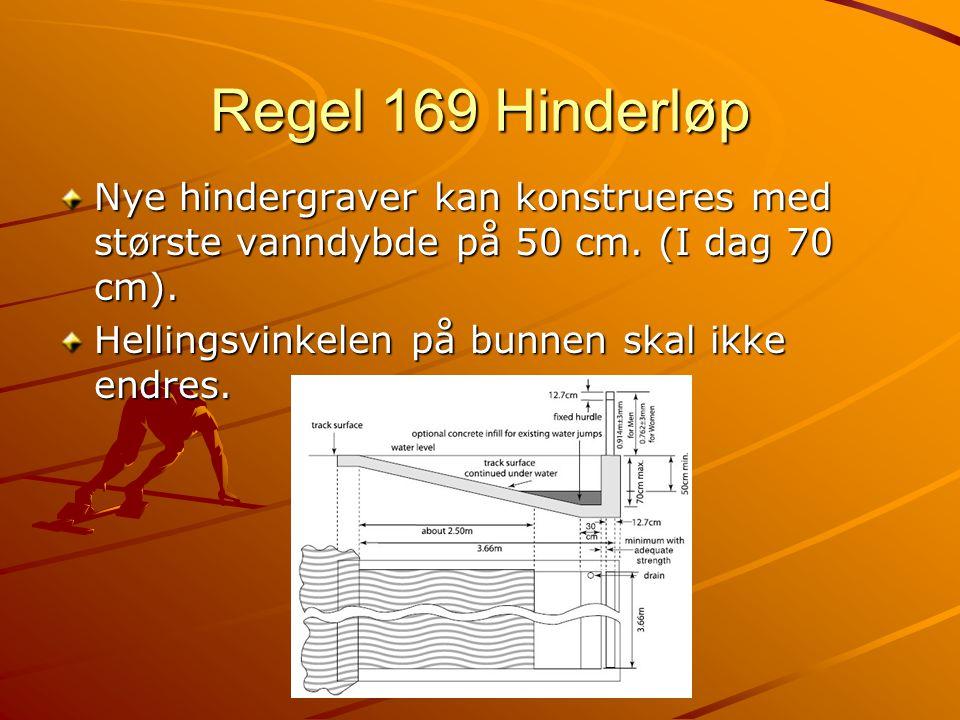 Regel 169 Hinderløp Nye hindergraver kan konstrueres med største vanndybde på 50 cm.