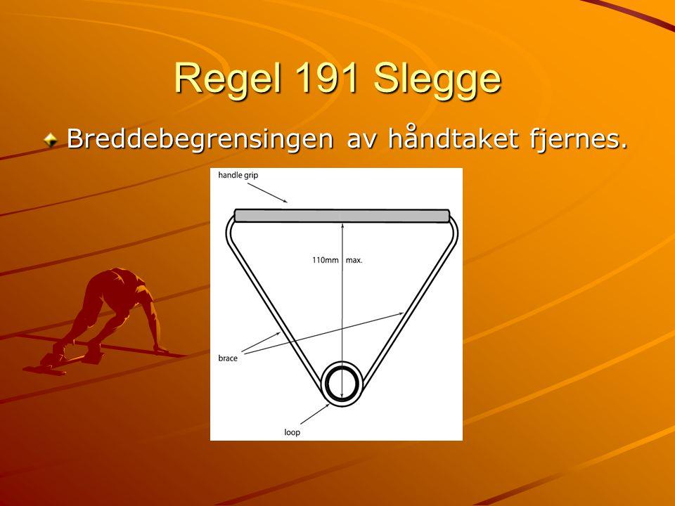 Regel 191 Slegge Breddebegrensingen av håndtaket fjernes.