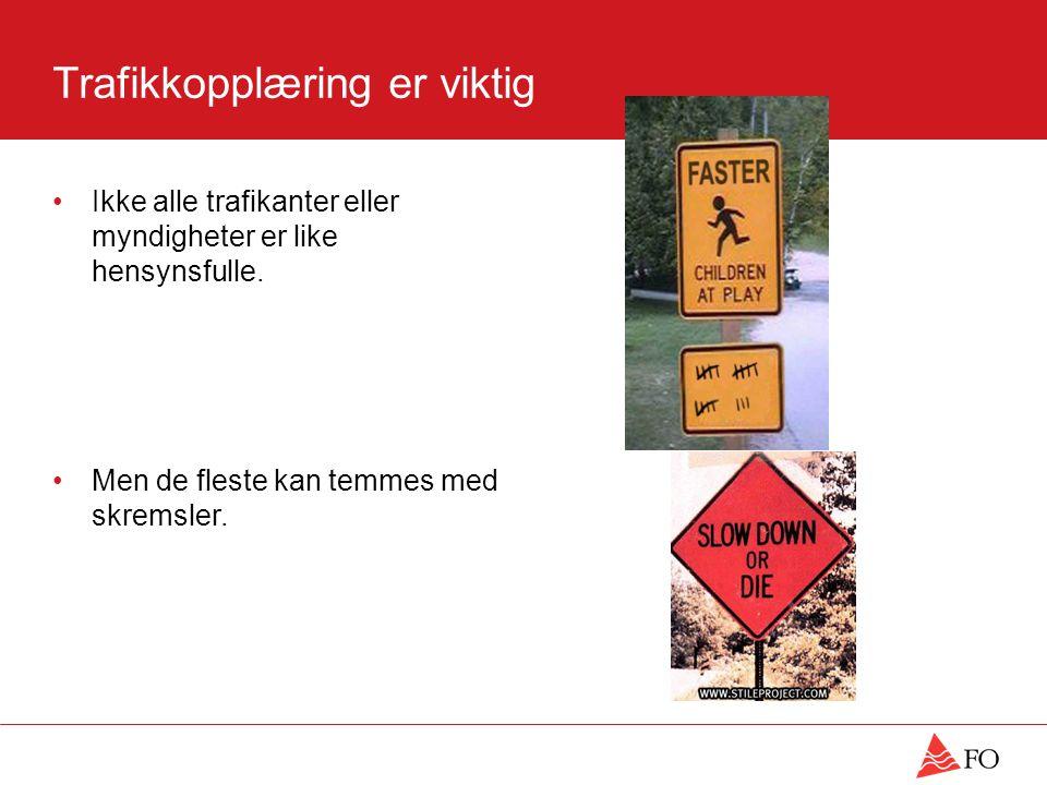 Trafikkopplæring er viktig •Ikke alle trafikanter eller myndigheter er like hensynsfulle.