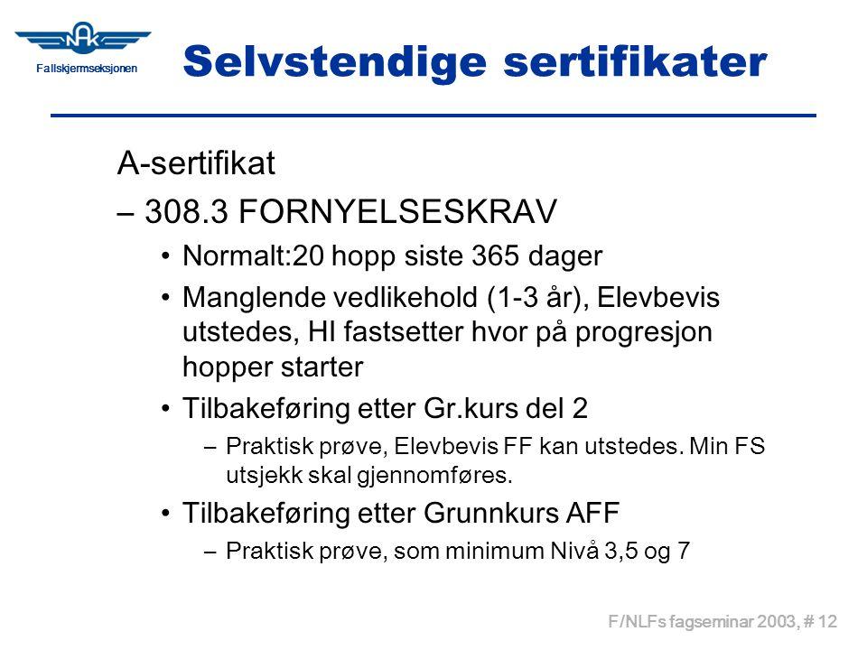 Fallskjermseksjonen F/NLFs fagseminar 2003, # 12 Selvstendige sertifikater A-sertifikat –308.3 FORNYELSESKRAV •Normalt:20 hopp siste 365 dager •Mangle