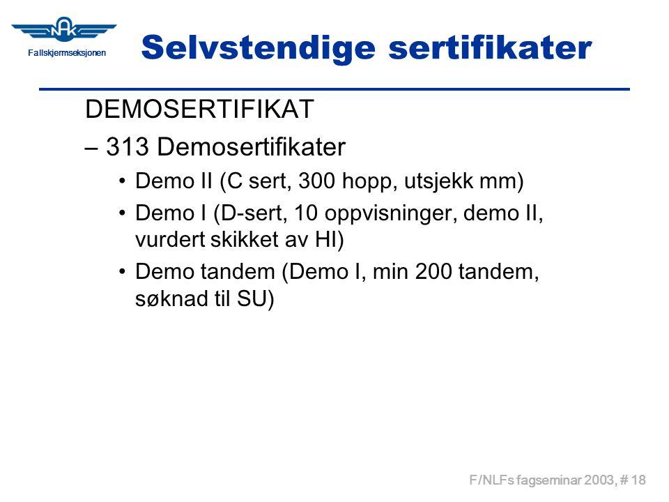 Fallskjermseksjonen F/NLFs fagseminar 2003, # 18 Selvstendige sertifikater DEMOSERTIFIKAT –313 Demosertifikater •Demo II (C sert, 300 hopp, utsjekk mm) •Demo I (D-sert, 10 oppvisninger, demo II, vurdert skikket av HI) •Demo tandem (Demo I, min 200 tandem, søknad til SU)