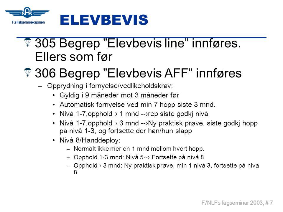 """Fallskjermseksjonen F/NLFs fagseminar 2003, # 7 ELEVBEVIS 305 Begrep """"Elevbevis line"""" innføres. Ellers som før 306 Begrep """"Elevbevis AFF"""" innføres –Op"""
