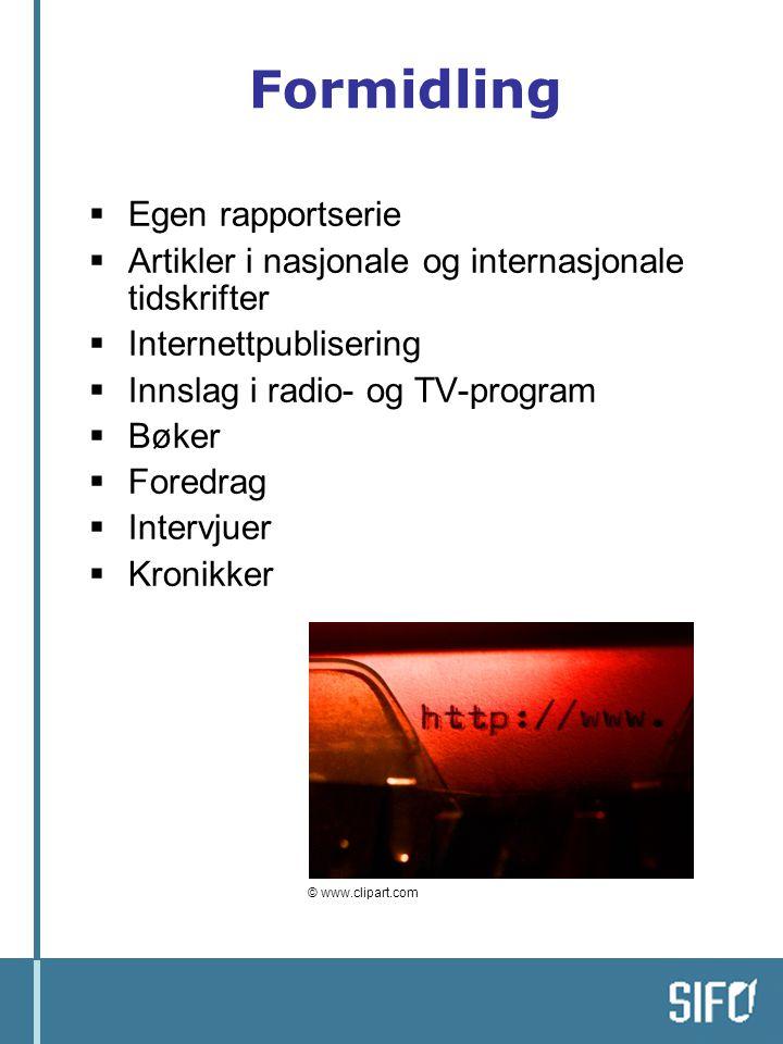 Formidling  Egen rapportserie  Artikler i nasjonale og internasjonale tidskrifter  Internettpublisering  Innslag i radio- og TV-program  Bøker 