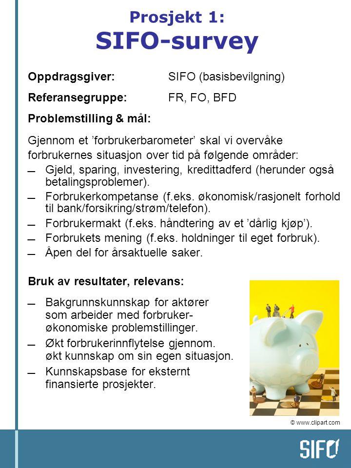 Prosjekt 1: SIFO-survey Oppdragsgiver: SIFO (basisbevilgning) Referansegruppe: FR, FO, BFD Problemstilling & mål: Gjennom et 'forbrukerbarometer' skal