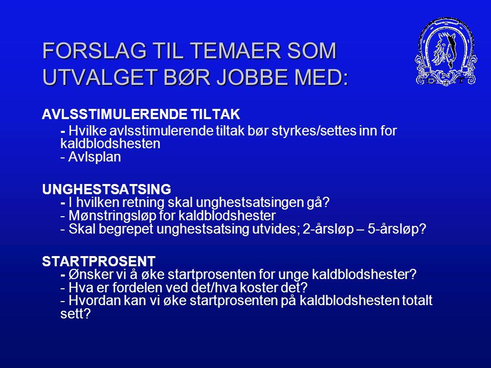 MANDAT Utvalget skal legge frem forslag til tiltak som skal bidra til at kaldblodsrasen får en sunn utvikling, at den beholder sin popularitet og befester sin posisjon som en svært viktig del av norsk travsport.