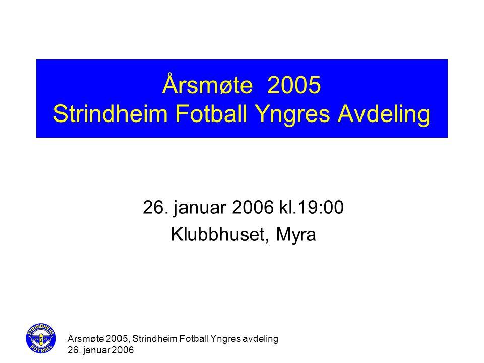 Årsmøte 2005, Strindheim Fotball Yngres avdeling 26. januar 2006 Årsmøte 2005 Strindheim Fotball Yngres Avdeling 26. januar 2006 kl.19:00 Klubbhuset,