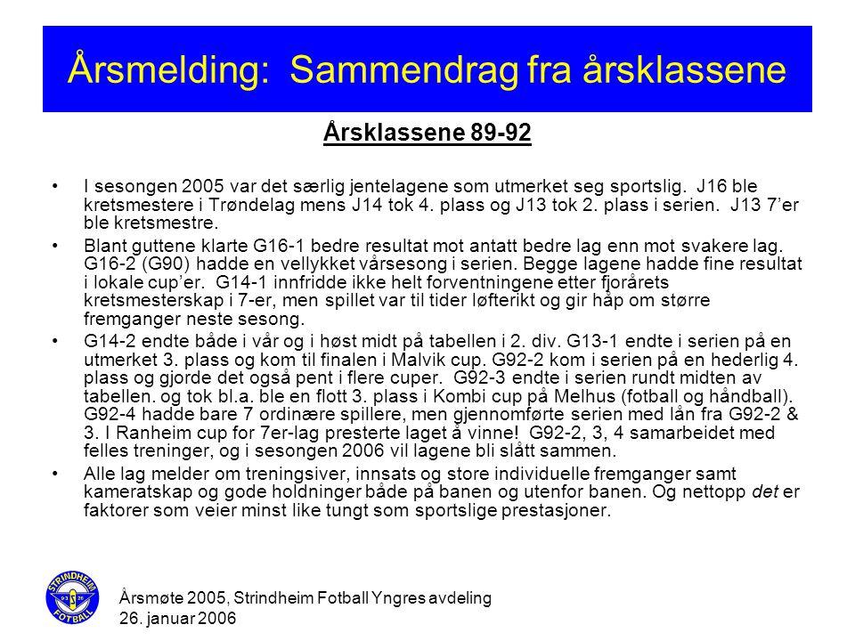 Årsmøte 2005, Strindheim Fotball Yngres avdeling 26. januar 2006 Årsmelding: Sammendrag fra årsklassene Årsklassene 89-92 •I sesongen 2005 var det sær