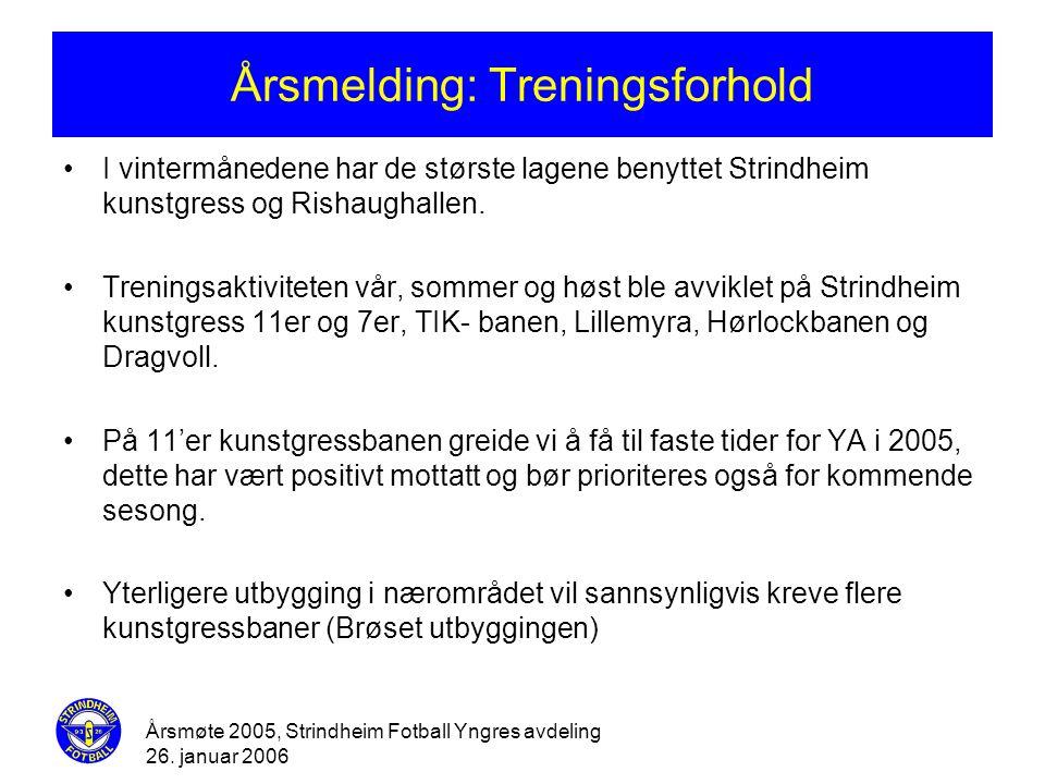 Årsmøte 2005, Strindheim Fotball Yngres avdeling 26. januar 2006 Årsmelding: Treningsforhold •I vintermånedene har de største lagene benyttet Strindhe