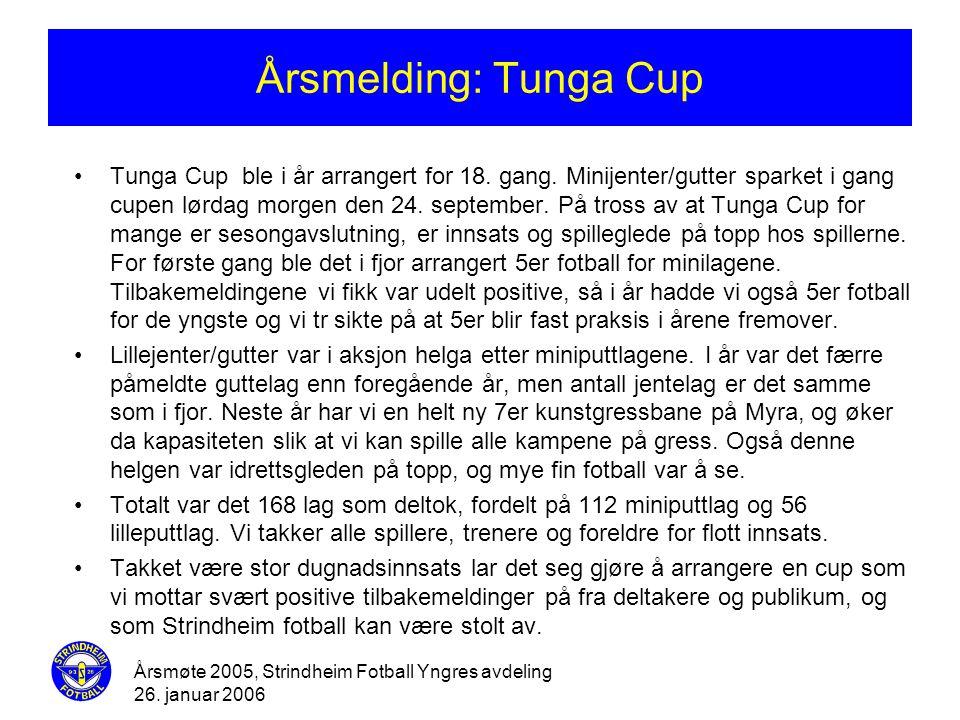 Årsmøte 2005, Strindheim Fotball Yngres avdeling 26. januar 2006 Årsmelding: Tunga Cup •Tunga Cup ble i år arrangert for 18. gang. Minijenter/gutter s