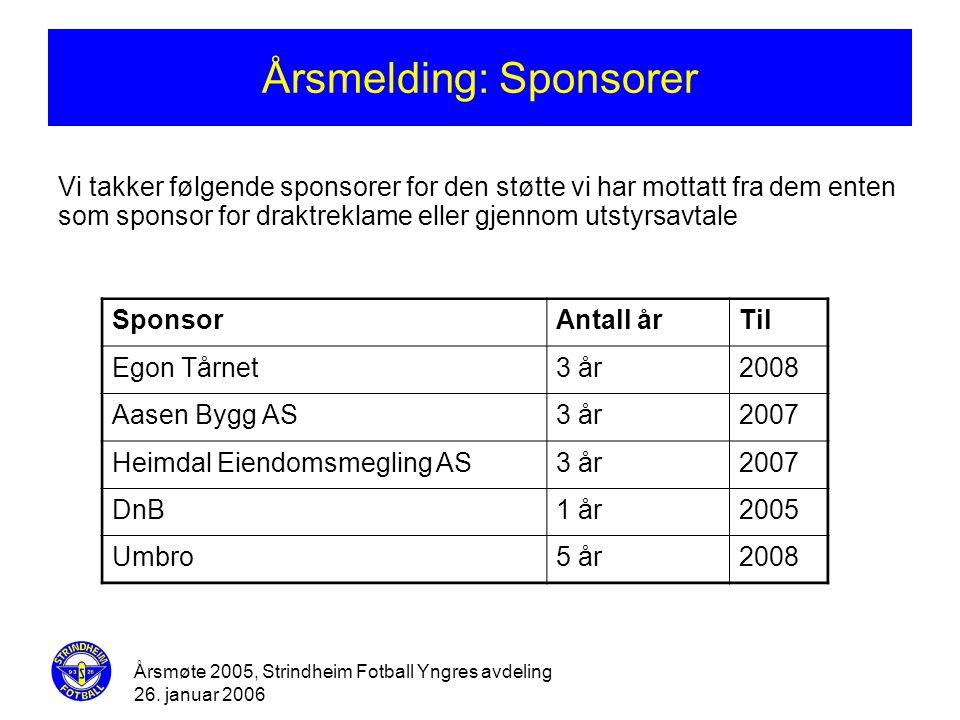 Årsmøte 2005, Strindheim Fotball Yngres avdeling 26. januar 2006 Årsmelding: Sponsorer Vi takker følgende sponsorer for den støtte vi har mottatt fra