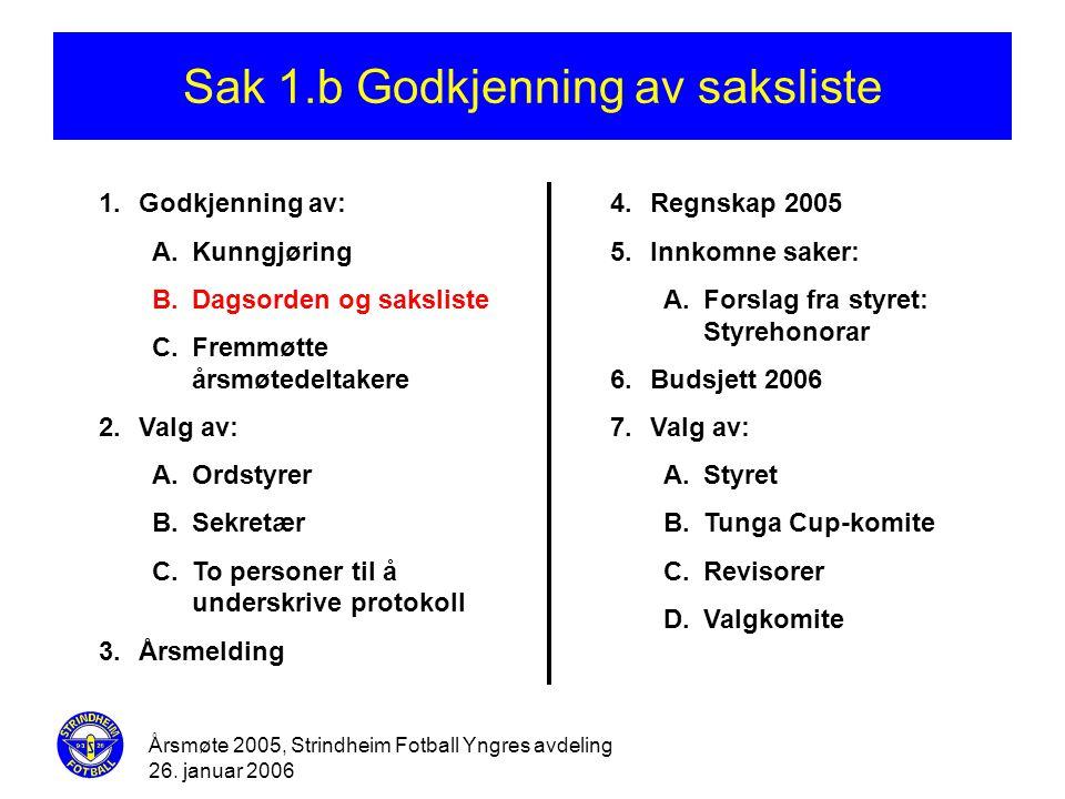Årsmøte 2005, Strindheim Fotball Yngres avdeling 26. januar 2006 Sak 1.b Godkjenning av saksliste 1.Godkjenning av: A.Kunngjøring B.Dagsorden og saksl