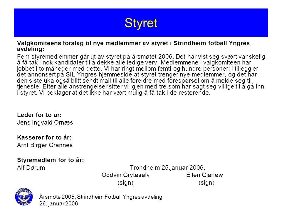 Årsmøte 2005, Strindheim Fotball Yngres avdeling 26. januar 2006 Styret Valgkomiteens forslag til nye medlemmer av styret i Strindheim fotball Yngres