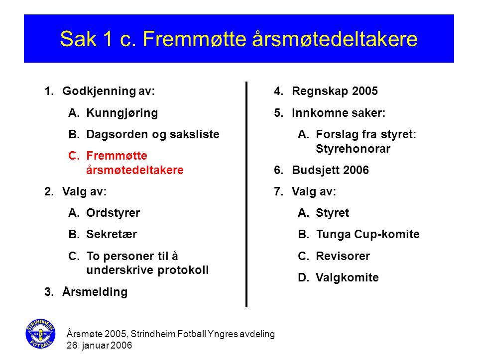 Årsmøte 2005, Strindheim Fotball Yngres avdeling 26. januar 2006 Sak 1 c. Fremmøtte årsmøtedeltakere 1.Godkjenning av: A.Kunngjøring B.Dagsorden og sa