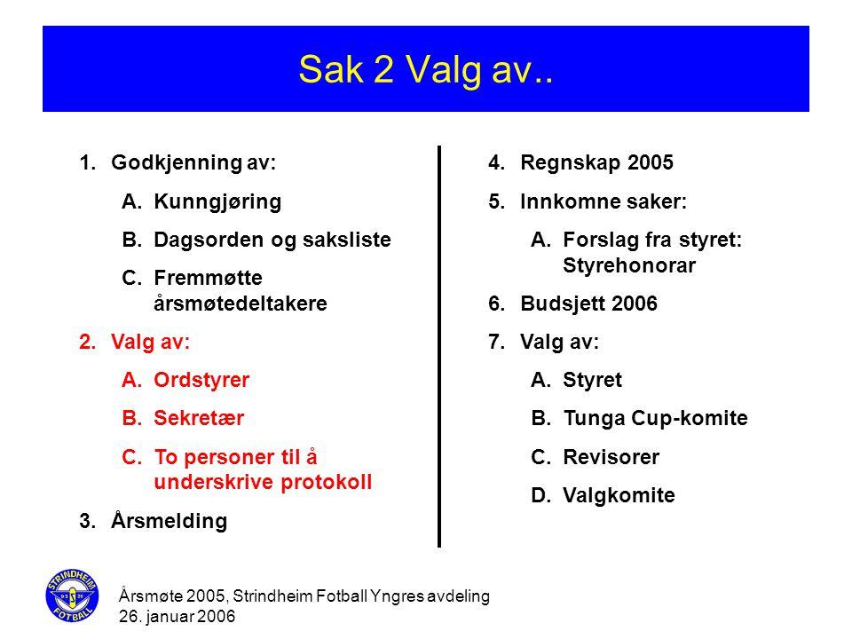 Årsmøte 2005, Strindheim Fotball Yngres avdeling 26. januar 2006 Sak 2 Valg av.. 1.Godkjenning av: A.Kunngjøring B.Dagsorden og saksliste C.Fremmøtte
