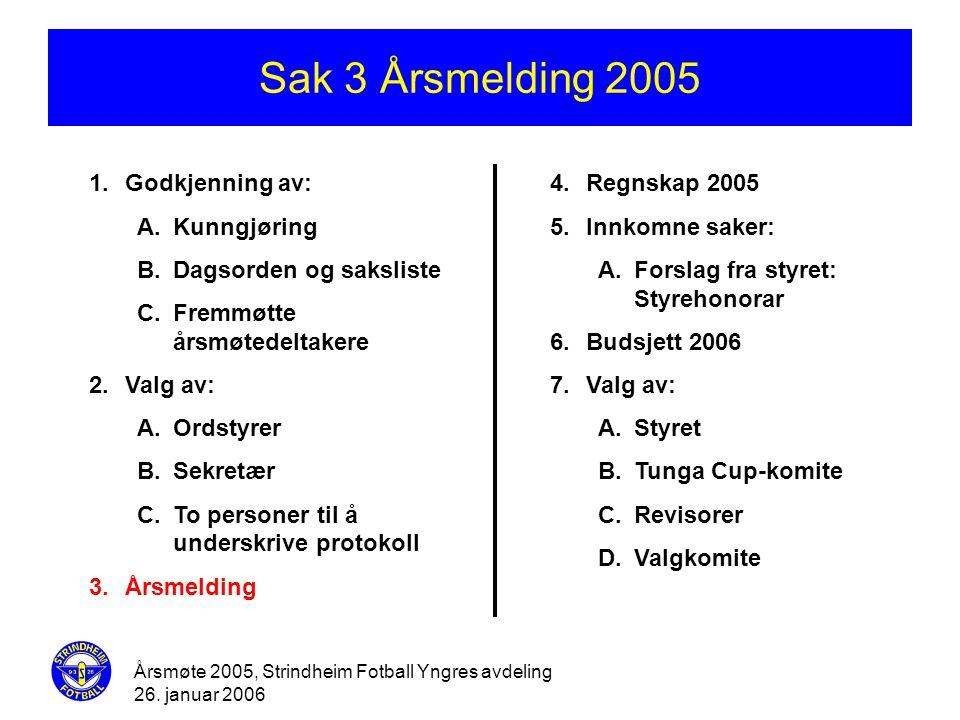 Årsmøte 2005, Strindheim Fotball Yngres avdeling 26. januar 2006 Sak 3 Årsmelding 2005 1.Godkjenning av: A.Kunngjøring B.Dagsorden og saksliste C.Frem