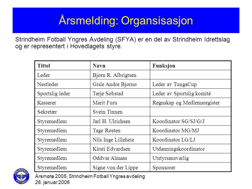 Årsmøte 2005, Strindheim Fotball Yngres avdeling 26. januar 2006 Årsmelding: Organsisasjon Strindheim Fotball Yngres Avdeling (SFYA) er en del av Stri