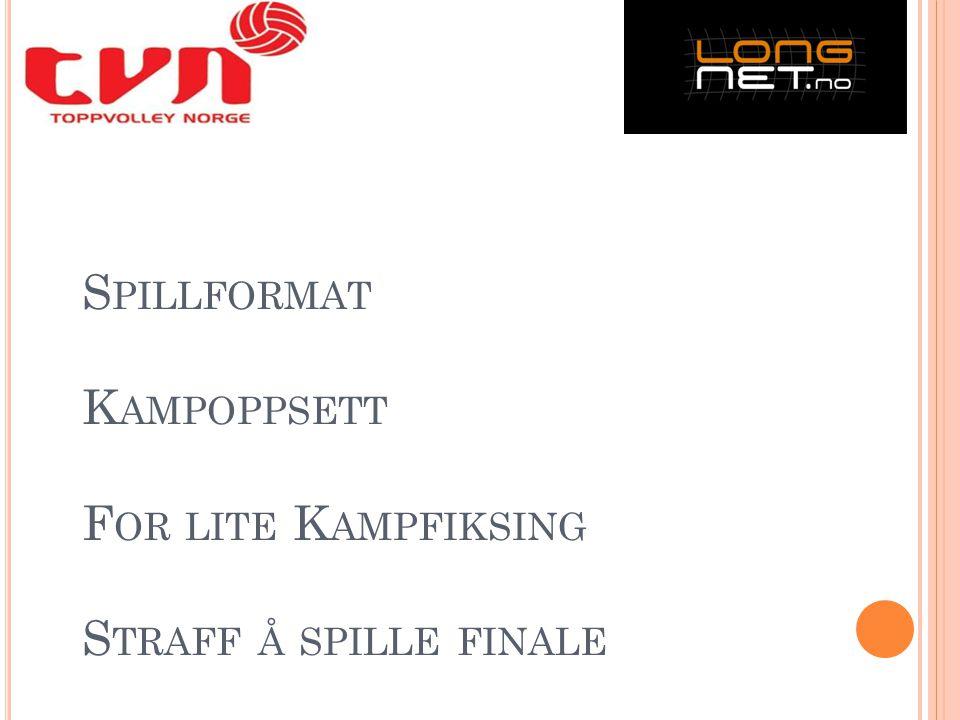 S PILLFORMAT K AMPOPPSETT F OR LITE K AMPFIKSING S TRAFF Å SPILLE FINALE