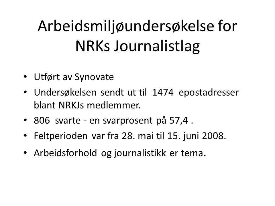 Arbeidsmiljøundersøkelse for NRKs Journalistlag • Utført av Synovate • Undersøkelsen sendt ut til 1474 epostadresser blant NRKJs medlemmer.