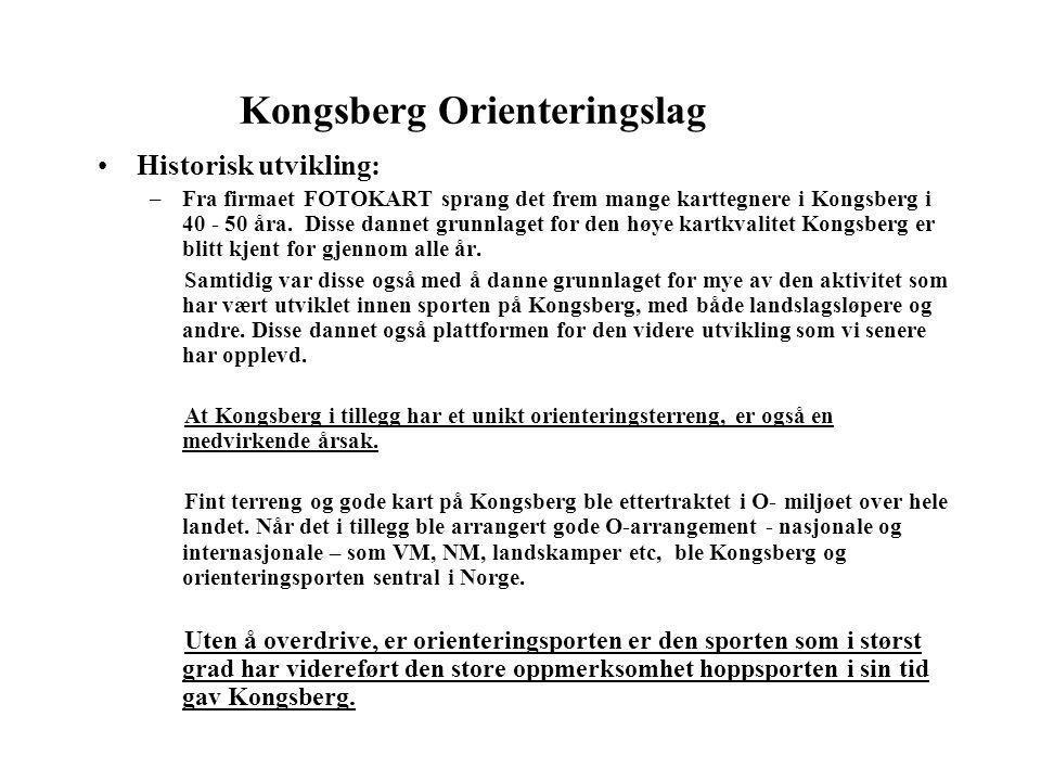 Kongsberg Orienteringslag •Historisk utvikling: –Fra firmaet FOTOKART sprang det frem mange karttegnere i Kongsberg i 40 - 50 åra. Disse dannet grunnl