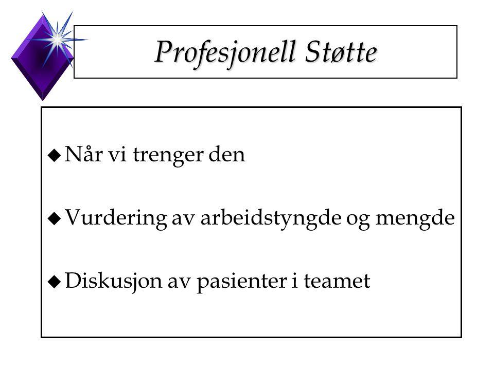 Profesjonell Støtte u Når vi trenger den u Vurdering av arbeidstyngde og mengde u Diskusjon av pasienter i teamet