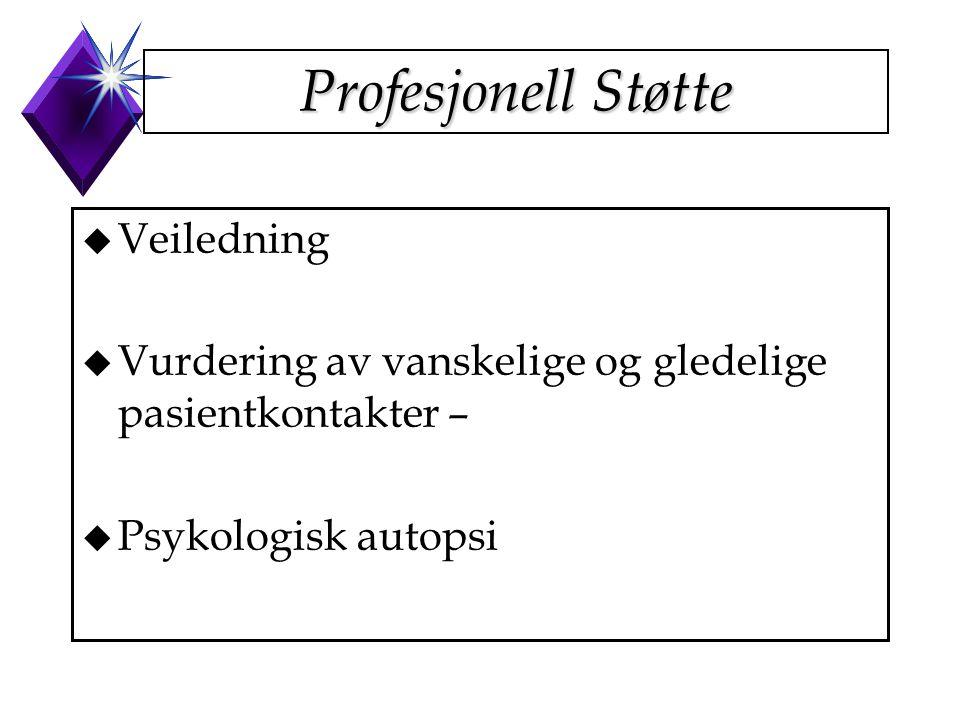 Profesjonell Støtte u Veiledning u Vurdering av vanskelige og gledelige pasientkontakter – u Psykologisk autopsi