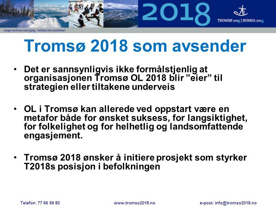 Tromsø 2018 som avsender •Det er sannsynligvis ikke formålstjenlig at organisasjonen Tromsø OL 2018 blir eier til strategien eller tiltakene underveis •OL i Tromsø kan allerede ved oppstart være en metafor både for ønsket suksess, for langsiktighet, for folkelighet og for helhetlig og landsomfattende engasjement.