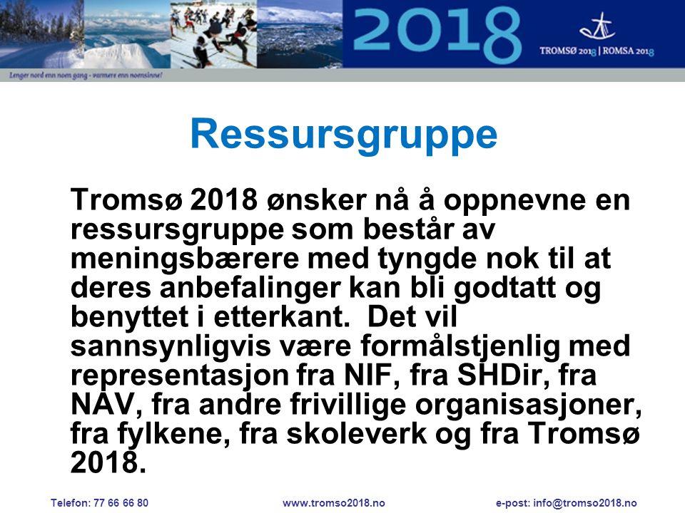Ressursgruppe Tromsø 2018 ønsker nå å oppnevne en ressursgruppe som består av meningsbærere med tyngde nok til at deres anbefalinger kan bli godtatt og benyttet i etterkant.