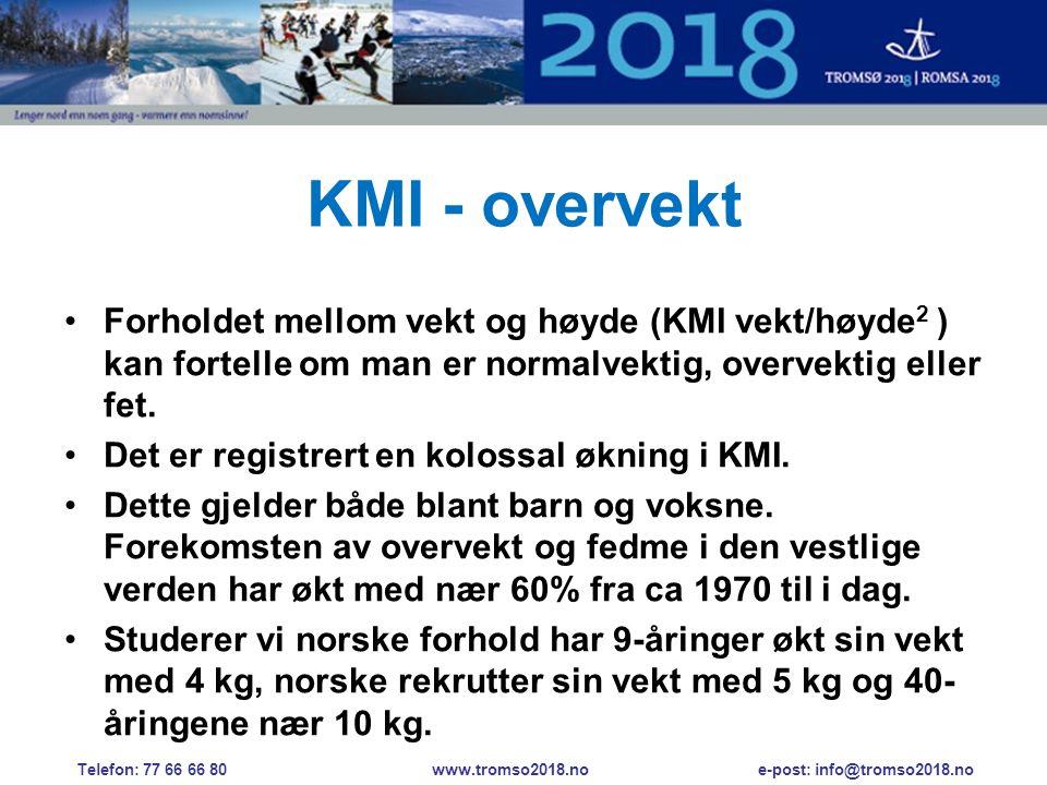 KMI - overvekt •Forholdet mellom vekt og høyde (KMI vekt/høyde 2 ) kan fortelle om man er normalvektig, overvektig eller fet.